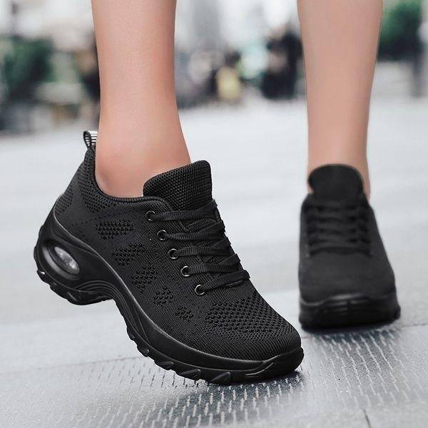 Women S Walking Shoes Casual Sneakers Knit Mesh Air Cushion Running Shoes Lady Girls Platform Shoes Walking Shoes Women Casual Shoes Women Women Platform Shoes