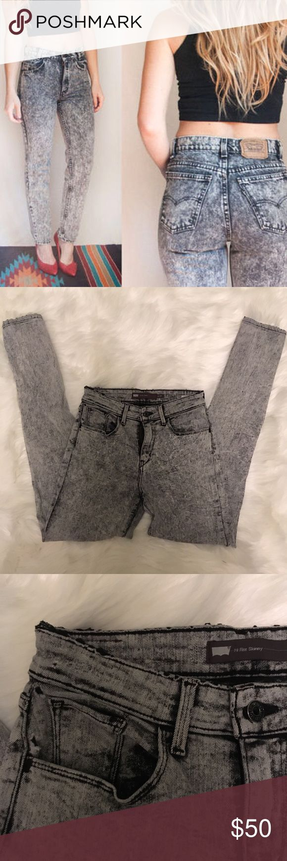 High Rise Acid Wash Skinny Jeans Vintage look black-grey acid wash jeans. Soft and with some stretch. Look amazing with a cropped chaser tank. In great condition. Levi's Jeans Skinny