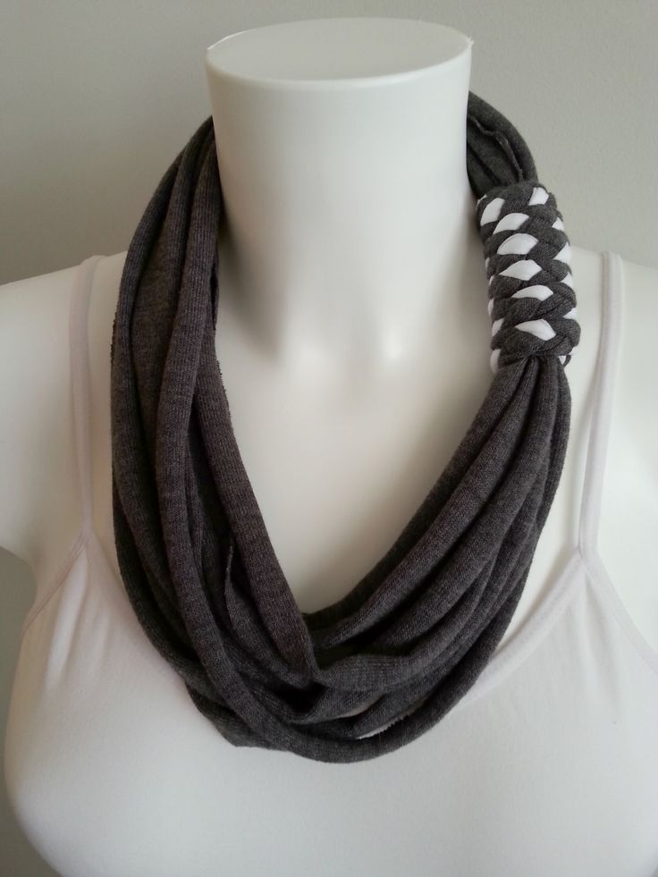 t shirt necklace, fabric necklace, cotton fabric necklace, t shirt scarf, infinity necklace by Lulaor on Etsy