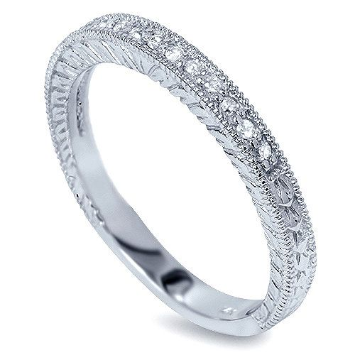 Vintage Engraved Diamond Wedding Band With Milgrain Detail: Diamond .20CT Vintage Wedding Ring Band Milgrain 14 Karat