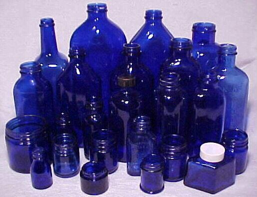 1920s- 1950s Group of 24 Cobalt Blue Glass Medicine ,Cosmetic Bottles and Jars