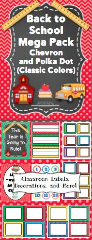 Back to School Chevron and Polka Dot Pack (Classic Colors): Back to school has never been easier! This pack is loaded with classroom decorations, open house activities, first week of school activities, and a behavior management system. All labels and letters are available in an EDITABLE format. WOW! This pack is also available in pastel/bright colors! $