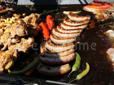 Grilled meats - sausages, pork and chicken.