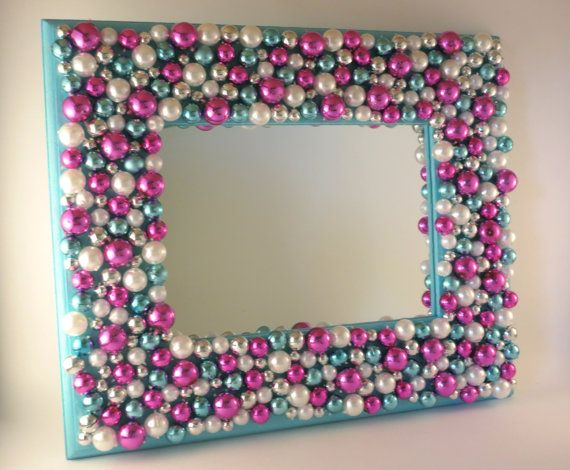 Mardi Gras Bead Mirror by ARTbyKVB on Etsy, $25.00
