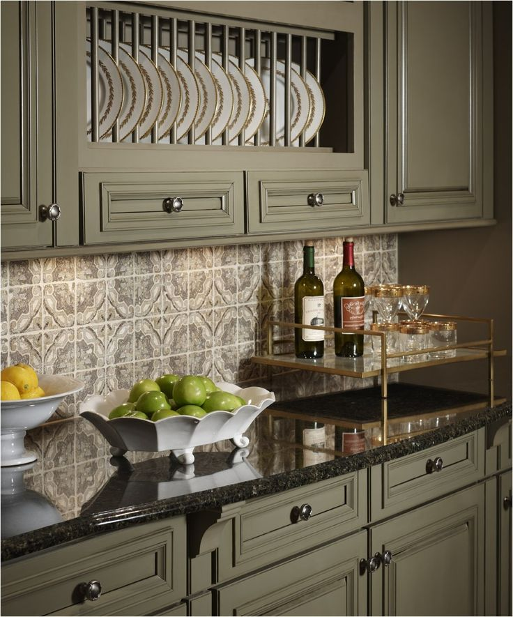 Kitchen:Kitchen Sage Green Painted Cabinets Black Granite Countertops  Glossy Pattern Tile Backsplash Beautiful Green