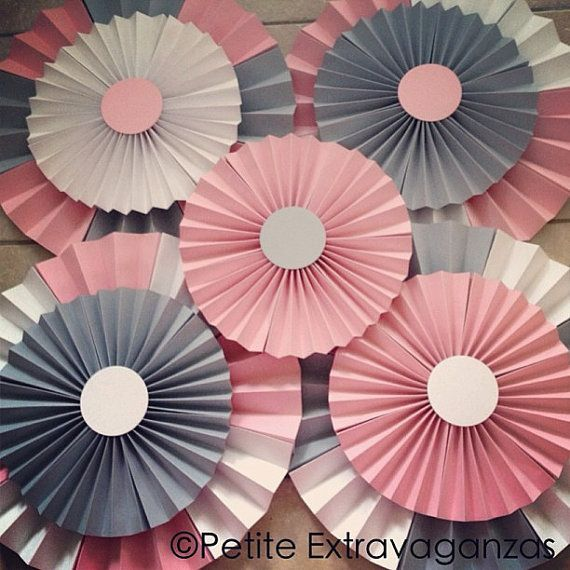 Pink and Gray Baby shower decorations Set of 9 Extra Large Paper Rosettes/ Fans