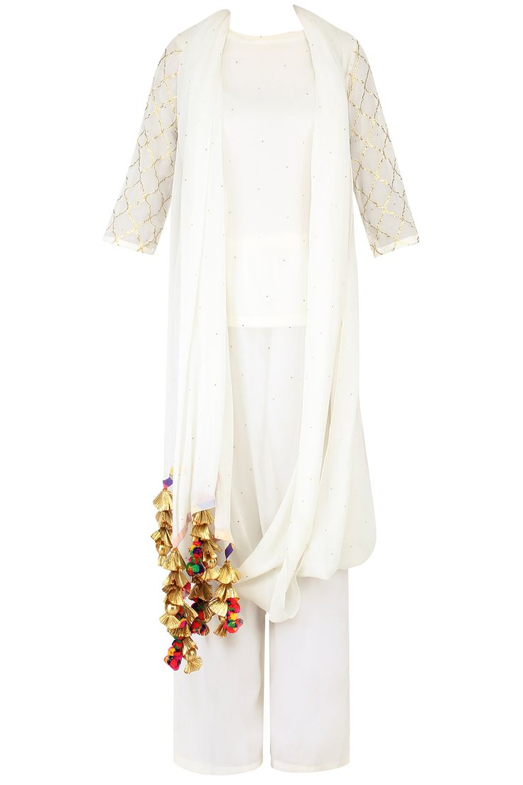 Ecru and gold gota patti work drape kurta and straight pants set available only at Pernia's Pop Up Shop.