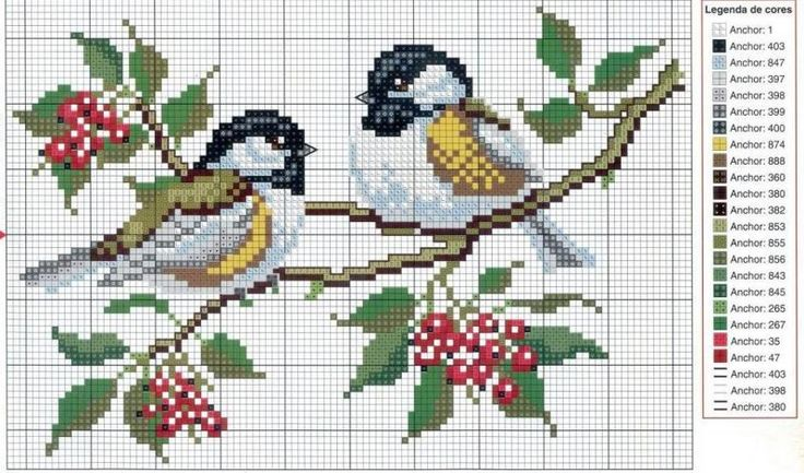 cross  stitch pair of birds