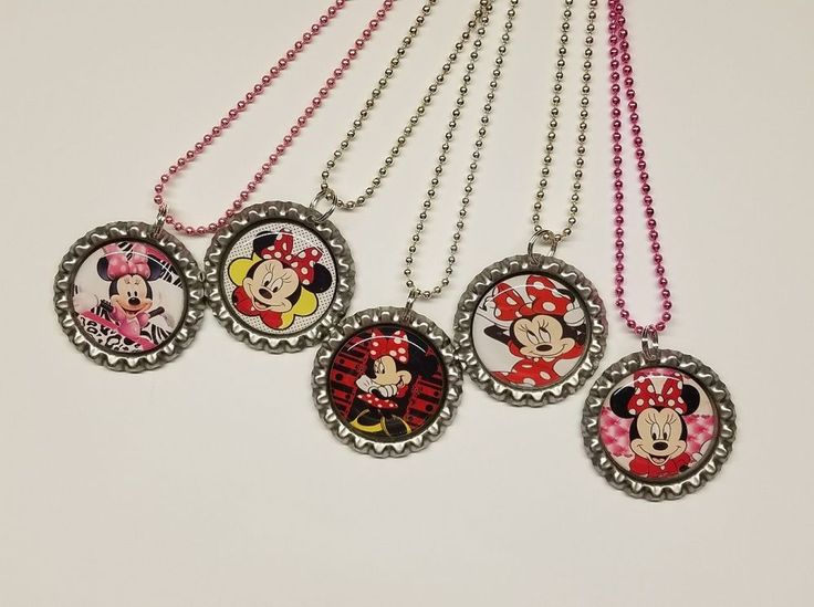 Set of 5 Mixed lot Minnie Mouse Inspired Necklaces/ Flat Bottle Cap Necklaces  #Unbranded