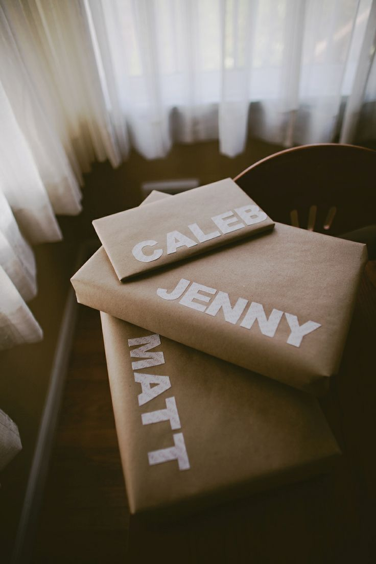 brown paper wrapping and names