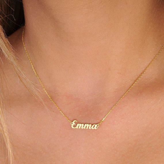 In 18inch yellow gold -- Tiny Gold Name Necklace-Personalized Necklace-Name Necklace-Custom Name Necklace-Name Jewelry-Personalized Name Plate Jewelry by GoldPersonalized