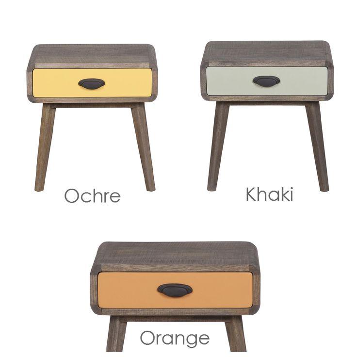 Vintage rock bedside table - Χειροποίητο κομοδίνο από μασίφ ξύλο μάνγκο  Διαθέτει 1 συρτάρι (με οδηγούς) Το κομοδίνο διατίθεται με το συρτάρι σε τρία χρώματα: - Orange - Υellow Ochre - Khaki