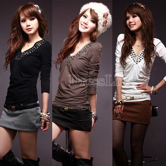 Korean Women's Long Sleeve T-shirt V Neck Rivet Tops 3 Colors