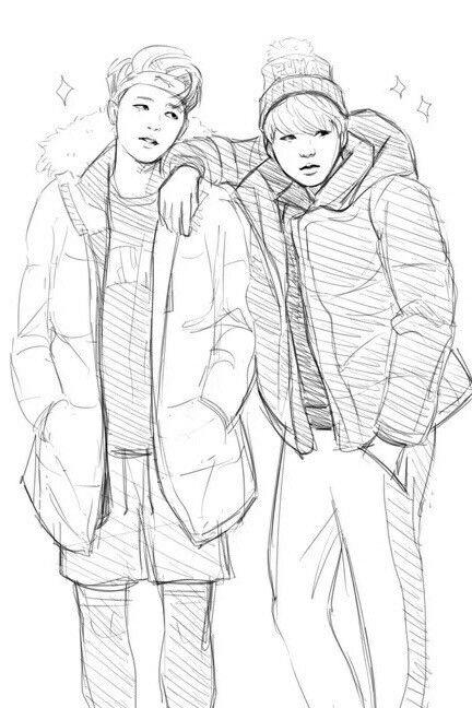 Jimin And Yoongi Bts Drawings Yoonmin Fanart Kpop Drawings