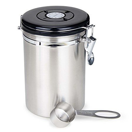 Moldiy Air Coffee Container Stainless Steel Canister 21 Oz With Scoop And Co2 Valve Brushed Nickle Finshed Review