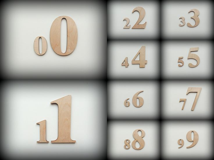 Laser cutted wooden numbers, 100mm high by FECOsCreations on Etsy