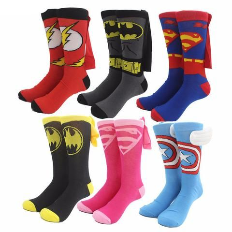 Long 3D Superhero Print Socks with Capes (multiple options)