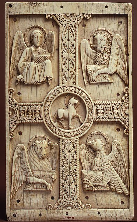 Ivory Plaque with Agnus Dei on a Cross between Emblems of the Four Evangelists, German or North Italian, c. 1000–1050