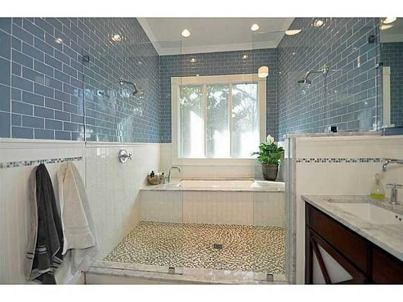 Bathroom Idea - Double Shower Heads and bathtub in shower.