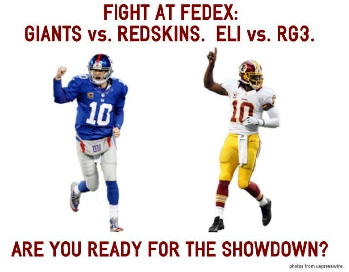 Giants VS the redskins ! The funny thing is both QBS #s r 10!! Lol the better one is in the blue shirt !! My QB ELI MANNING