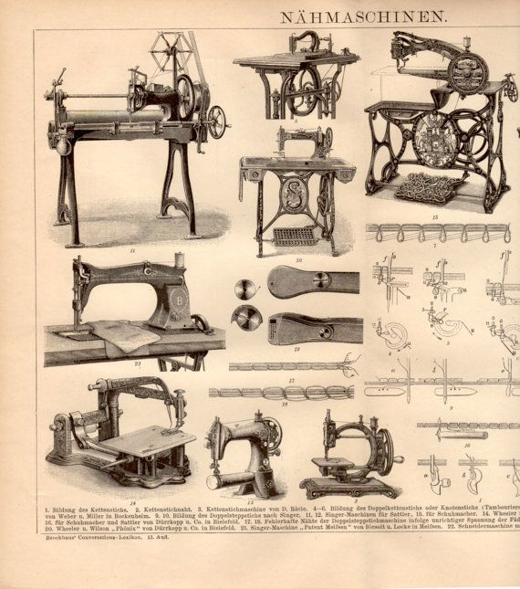 1885 Old Sewing Machines Antique Print Vintage by Craftissimo, €14.00