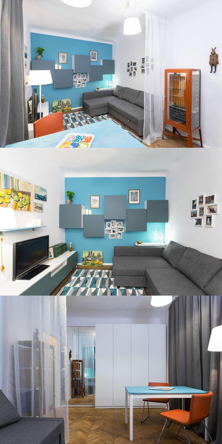 Młode małżeństwo lubi błękity, ich multifunkcyjny salon potrzebował światła i przestrzeni.