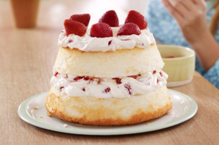 Strawberries and Cream Angel Food Cake | Food | Pinterest