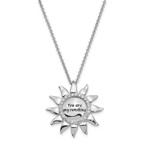 Sterling Silver CZ Antiqued You Are My Sunshine 18in