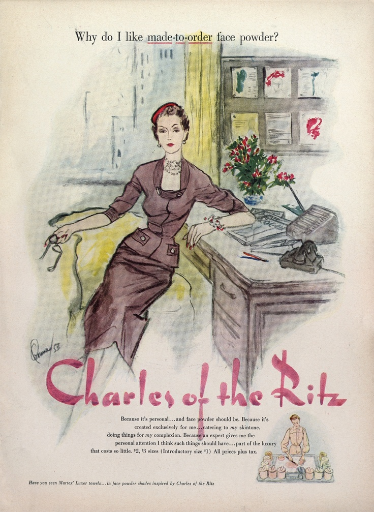 1953 ad for the cosmetics brand Charles of the Ritz.