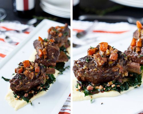 Braised Short Ribs with Swiss Chard and Polenta | Recipe