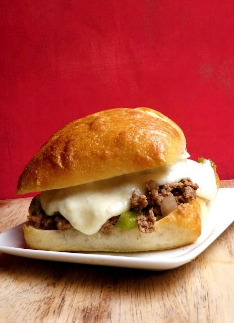 philly cheesesteak sloppy joes- adapted from rachel ray