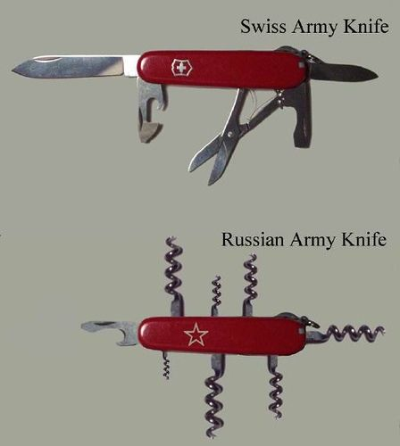 Swiss Army Knife vs. Russian Army KnifeFunny Pics, Funny Shit, Funny Pictures, French Knife, Military Funny, Funny Stuff, Swiss Army Knife, Army Knives, Russian Army