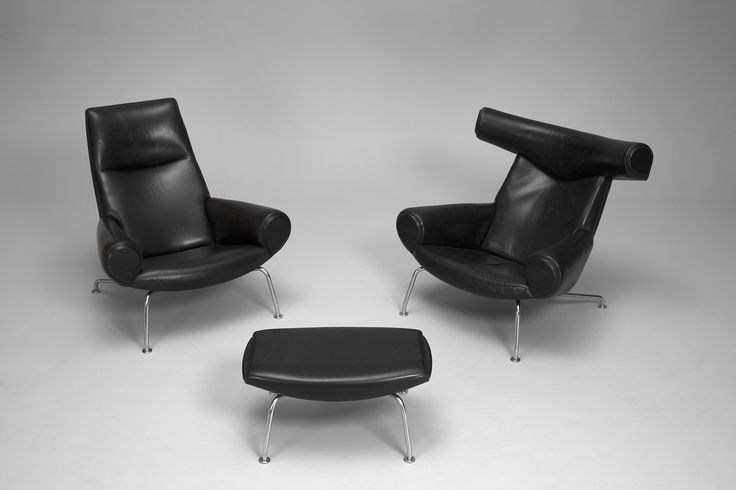 Ox and Ox-Queen Chair and Ottoman Hans J Wegner 1960s