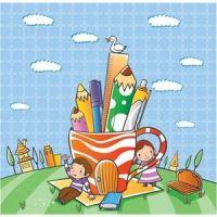 cute school children playing in garden vector kids illustration
