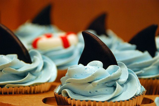 Shark cupcakes for a little boys bday!   Flickr - Photo Sharing!