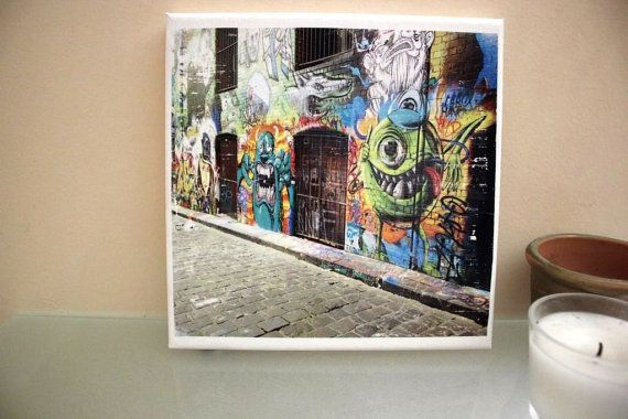 MONSTERS INC. Graffiti Art Print Photo Transfer by PrinterTimber. Melbourne CBD features some of the best wall art in the world. And now you can take it home with you and showcase it on your wall, cabinet, table or shelf for all to see.