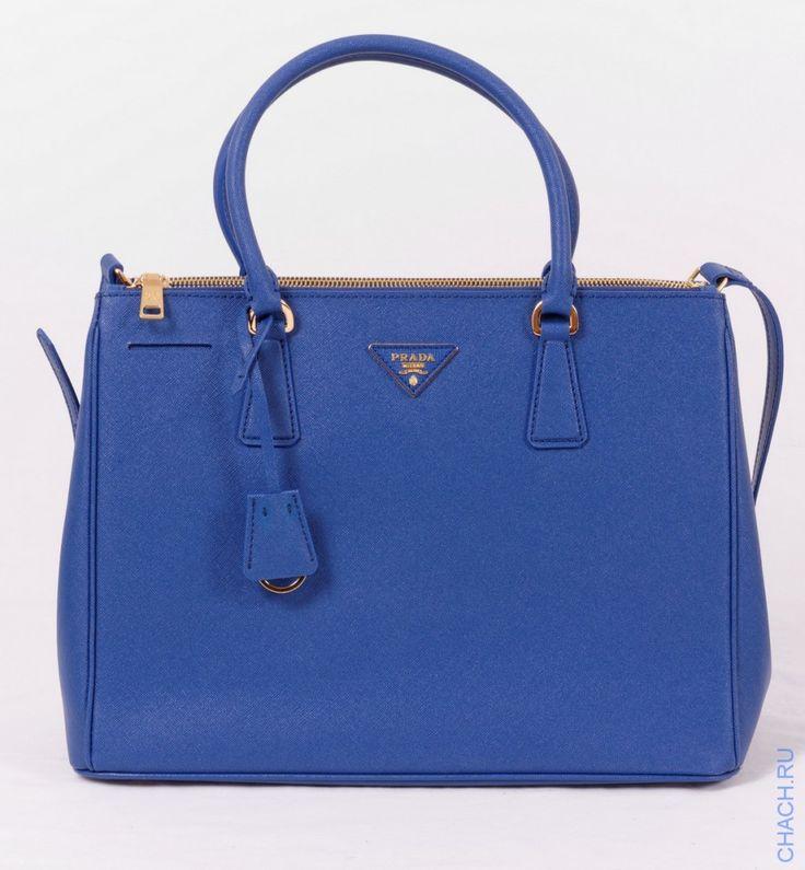 Сумка Prada Saffiano из натуральной кожи специальной выделки, с наплечным ремешком, синего цвета