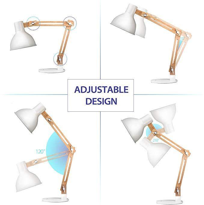 Amazon Com Tomons Swing Arm Led Desk Lamp Wood Designer Table Lamp Reading Lights For Living Room Bedroom In 2020 Bedside Night Stands Desk Lamp Modern Desk Lamp