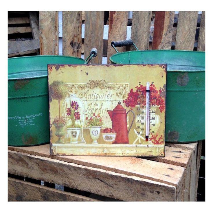 Termometr umieszczony na metalowej blaszce ozdobionej kwiatami w różnych wazonach, na rogach widoczne rdzawe przetarcia typowe dla prowansalskiego stylu.