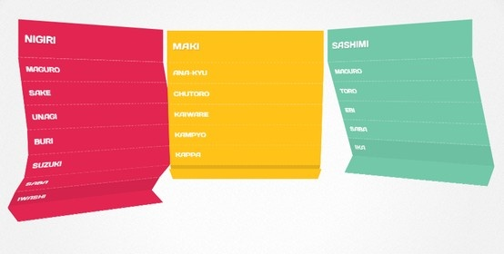 An awesome example of a CSS 3D folding menu. Source available at http://soulwire.github.com/Makisu/