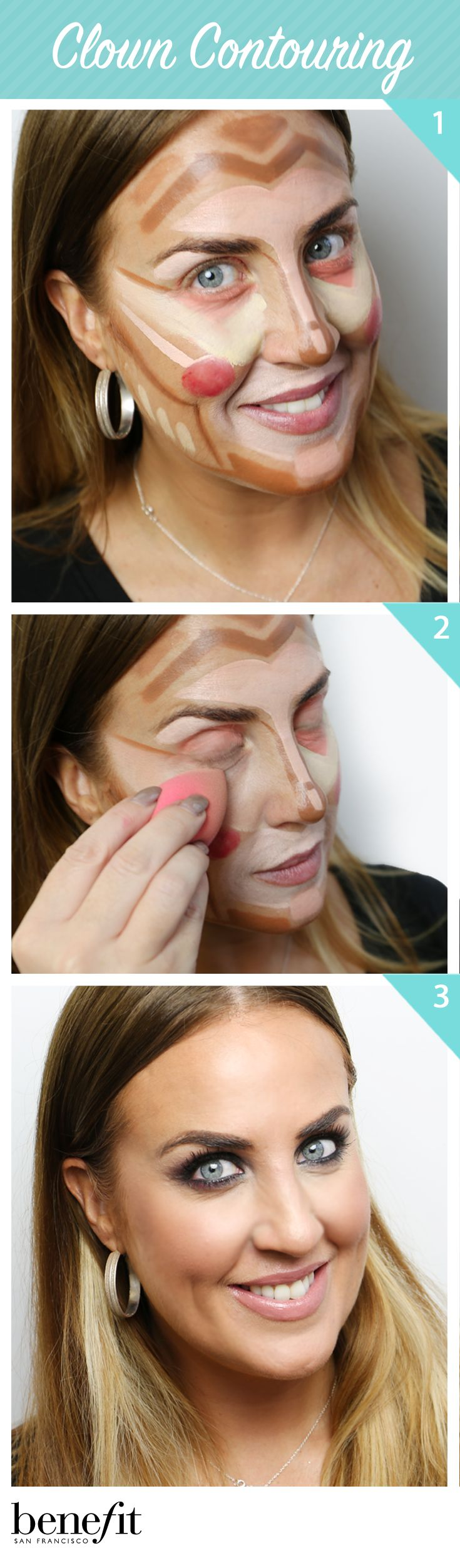 31 best benefit makeup tutorials images on pinterest benefit so our assistant makeup and trend artist laurretta power tried out clown contouring before baditri Images