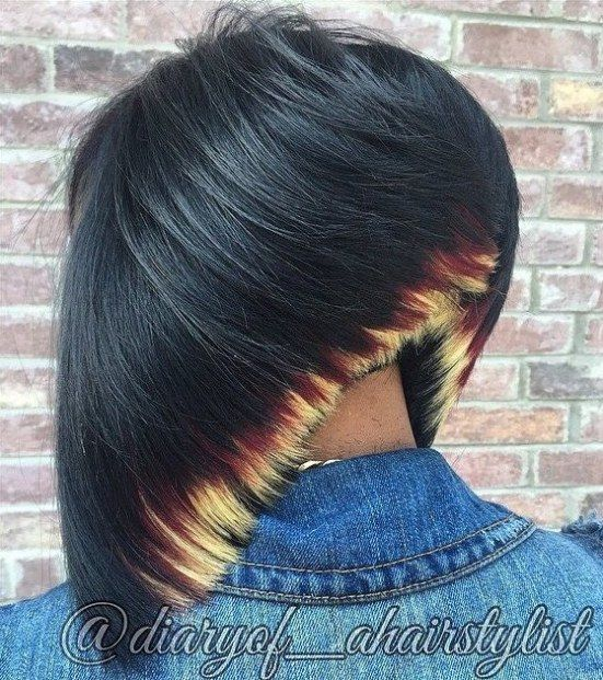 Black Bob With Blonde Ends
