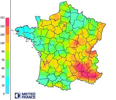 Densité moyenne d'impacts de foudre en centièmes d'impacts par km2 année 1994