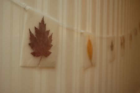 Beautiful Autumn Leaf Garland - I'm thinking you could skip the sewing machine,  use a hole punch and weave some twine through it.