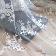"""1 meters 130 cm 51 """"breed ivoor paars hemelsblauw roze mesh geborduurde gaas kant stof voor bridal jurk rok L24L323(China)"""