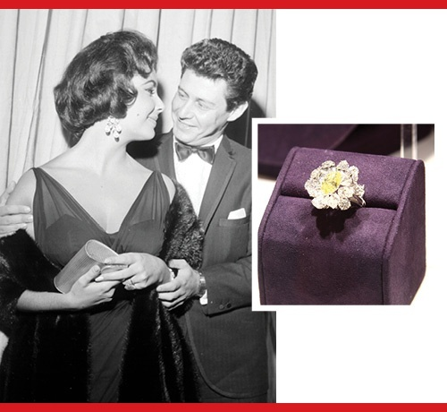 Engagement ring. Elizabeth Taylor and Eddie Fisher, 1959