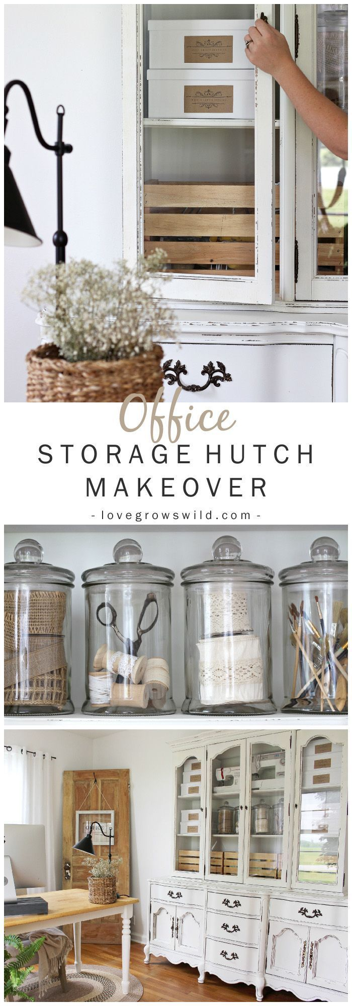 Old hutches and china cabinets make great storage for an office