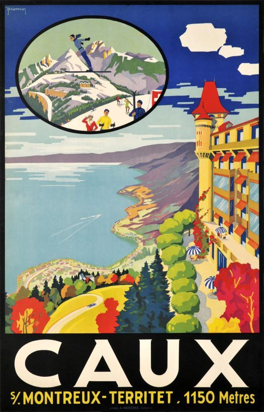 """Caux s/ Montreux-Territet (by Jacomo, Muller Jacomo / 1921) Summer and winter at the """"Grand hotel of Caux"""" over Montreux on the Lake of Geneva. A beautiful Art Deco poster by Jacomo Müller finely printed in stone-lithography in 1921, still in excellent condition. A rare Swiss travel poster, highly collectable."""