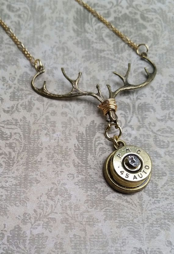Bullet deer necklace, casing jewelry, antler necklace, country jewelry, gift for hunter, hunting jewelry, bullet casing, 45 caliber