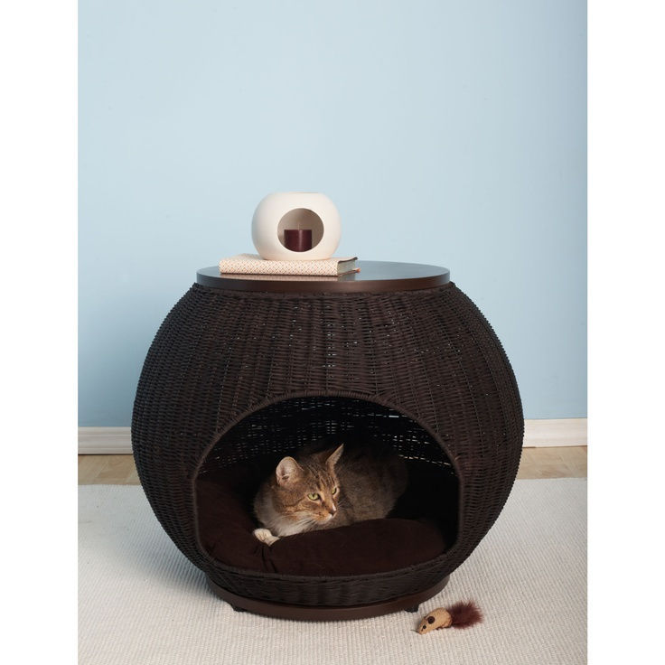 The Refined Feline The Igloo Deluxe Wicker End Table Cat Bed